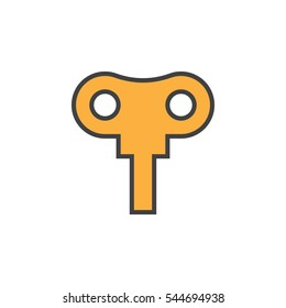 Wind up key line icon, filled outline vector sign, linear colorful pictogram isolated on white. Symbol, logo illustration