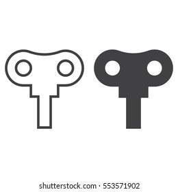 Wind up key line icon, outline and filled vector sign, linear and full pictogram isolated on white. Symbol, logo illustration
