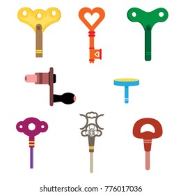 wind up key set cartoon isolated simple vector flat design style icon on white background or old toys isolated on white.