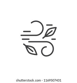 Wind and leaves outline icon. linear style sign for mobile concept and web design. Autumn leaves simple line vector icon. Symbol, logo illustration. Pixel perfect vector graphics