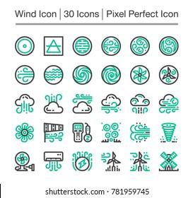 wind line icon,editable stroke,pixel perfect icon