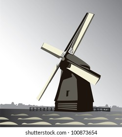 wind mill, countryside vector illustration