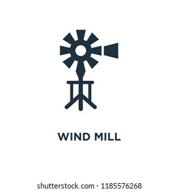 Wind Mill icon. Black filled vector illustration. Wind Mill symbol on white background. Can be used in web and mobile.
