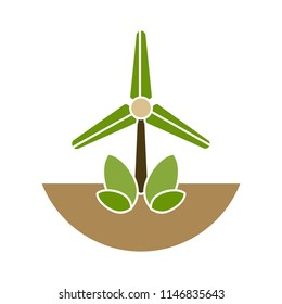 wind mill illustration - wind turbine, windmill, panel solar, milling isolated, energy symbol