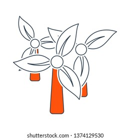 Wind Mill With Leaves In Blades Icon. Thin Line With Red Fill Design. Vector Illustration.