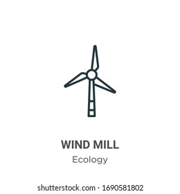 Wind mill outline vector icon. Thin line black wind mill icon, flat vector simple element illustration from editable ecology concept isolated stroke on white background