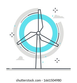 Wind mill related color line vector icon, illustration. The icon is about ecologic, green energy, environment friendly, wind turbine, renewable energy, clean. The composition is infinitely scalable.