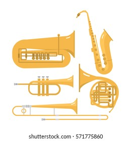 Wind musical instruments vector set orchestra brass music instrument band flute trumpet trombone isolated on white background.