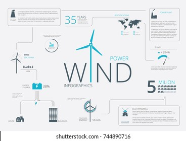 Wind Power Infographic Elements. Vector illusration