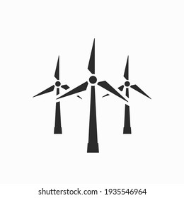 wind power plant icon. wind turbines. eco friendly, renewable, sustainable and alternative energy symbol. isolated vector image