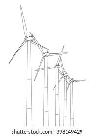 Wind power plant, line drawing illustration