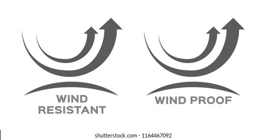 wind proof and resistant icon vector