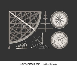 Wind rose. Compass. Navigation tool. Mariners and travelers. Astronomy and astrology.