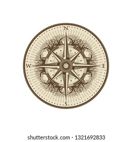 Wind Rose Compass in Retro Vintage Floral Tree
