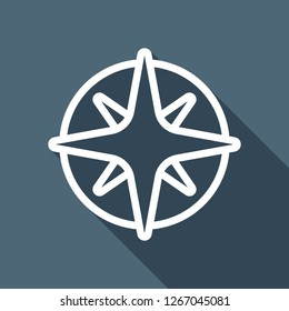 Wind rose, compass with star, outline linear icon. White flat icon with long shadow on blue background