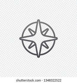 Wind rose, compass with star, outline linear icon. On grid background