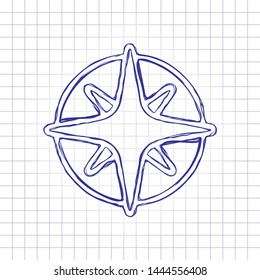 Wind rose, compass with star, outline linear icon. Hand drawn picture on paper sheet. Blue ink, outline sketch style. Doodle on checkered background
