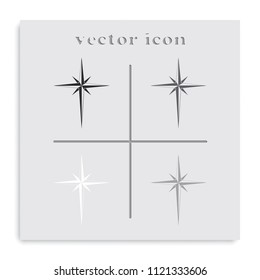 Wind rose flat black and white vector icon.