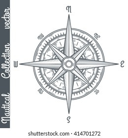 Wind rose. Hand drawn vector illustration.