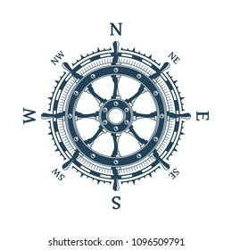 Wind rose with helm wheel vector illustration. Stylized ship Steering Wheel. Nautical compass icon isolated on white background. Design element for marine theme and heraldry. EPS 10.
