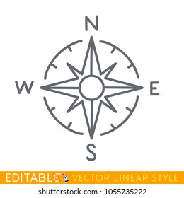 Wind rose isolated on white. Compass directions. Editable line sketch icon. Stock vector illustration.