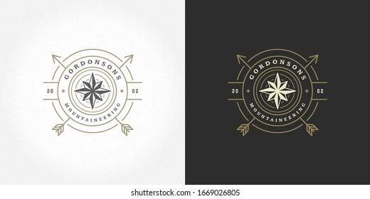 Wind rose logo emblem vector illustration outdoor expedition adventure compass silhouette for shirt or print stamp. Vintage typography badge design.