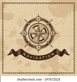 Wind Rose Nautical Compass - Vector design background