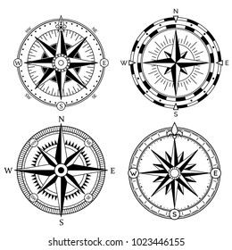 Wind rose retro design vector collection. Vintage nautical or marine wind rose and compass icons set, for travel, navigation design.