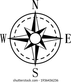 Wind rose and rhumb. Nautical compass with cardinal directions vector sign of navigation charts black on white background isolated