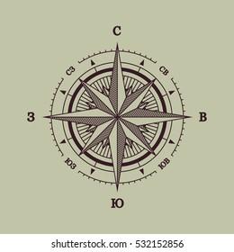 Wind Rose Russian Compass Flat Vector