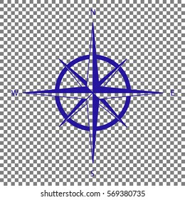 Wind rose sign. Blue icon on transparent background.