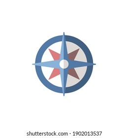 Wind rose sign. Flat icon. Isolated weather vector illustration
