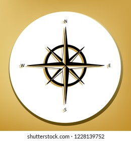 Wind rose sign. Vector. Black icon with light brown shadow in white circle with shaped ring at golden background.