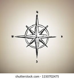 Wind rose sign. Vector. Brush drawed black icon at light brown background.