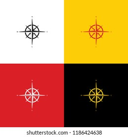 Wind rose sign. Vector. Icons of german flag on corresponding colors as background.