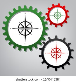Wind rose sign. Vector. Three connected gears with icons at grayish background.