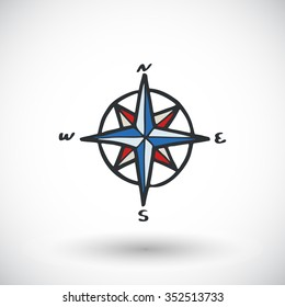 Wind rose sketch. Hand-drawn cartoon pirate or sea icon. Doodle drawing. Vector illustration