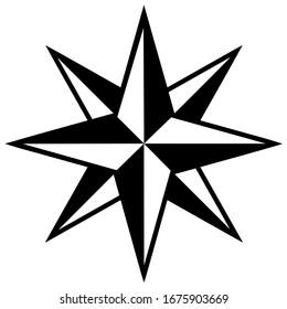 Wind rose symbol. Vector illustration.