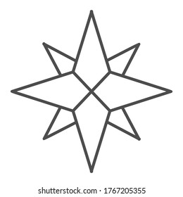 Wind rose thin line icon, nautical concept, Compass star sign on white background, old-style wind rose compass icon in outline style for mobile concept and web design. Vector graphics.
