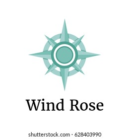 Wind rose in turquoise color. 3d design. Compass icon illustration. Vector logo template for geolocation or travels.