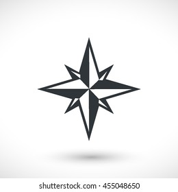 Wind rose vector icon. Graphic symbol for web design, logo. Gray glyph on a white background. Isolated sign.