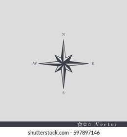 Wind rose vector icon,Pictograph of compass