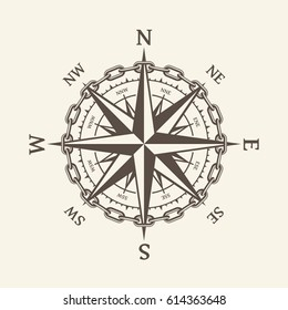 Wind rose vector illustration. Nautical compass icon isolated on background. Design element for marine theme and heraldry. EPS 10.