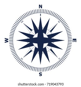 Wind rose vector illustration. Nautical compass icon isolated on white background.