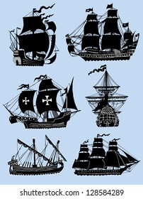 Wind ships isolated on the blue background