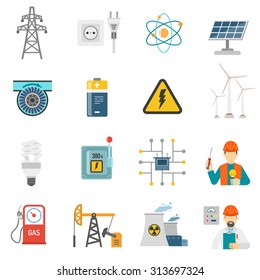Wind solar and nuclear energy generating systems flat icons set with radiation sign abstract vector isolated illustration