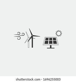 wind and solar power energy vector icon windmill and solar panel