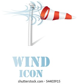 Wind speed flag on a pole icon vector isolated on white