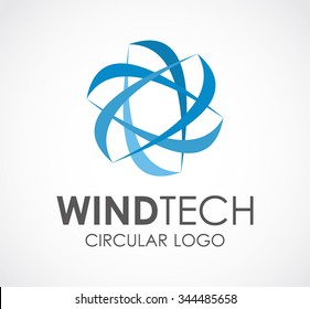 Wind technology of circle line abstract vector and logo design or template windmill business icon of company identity symbol concept