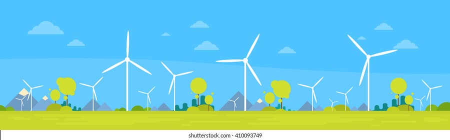 Wind Turbine Alternative Energy Resource Nature Background Banner Flat Vector Illustration